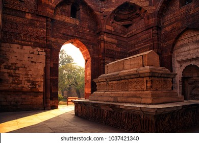 Tomb of Iltutmish, at Qutub Minar Complex, Delhi, India, September 2017. Detail view of Tomb of Iltutmisht at Qutub Minar Complex, constructed with red sandstone and marble in 1199, New Delhi, India.