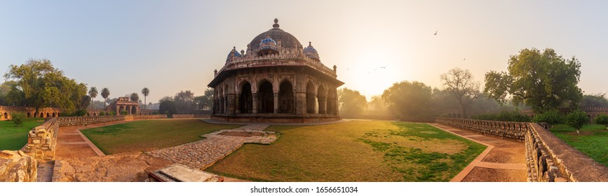 Tomb of Isa Khan in the Humayun's Tomb complex, New Dehli, India, panorama