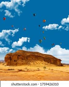 Tomb of Jabal Al Ahmar at Mada'in Saleh during the Tantora Balloon Festival in Al Ula, Saudi Arabia
