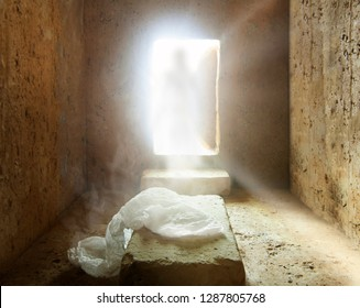 Tomb of jesus : Jesus Christ is Risen : Easter Day : Details of Jesus Christ's Resurrection : Surrealism Background
