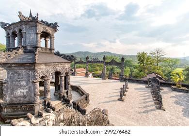 Tomb of Khai Dinh emperor in Hue, Vietnam. A UNESCO World Heritage Site.