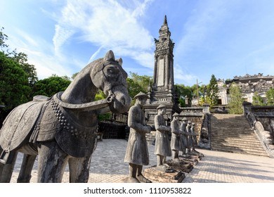 Tomb of Khai Dinh with Mandarin Honour Guard in the Honour Courtyard. Statues in line at the Khai Dinh tomb in Hue, Vietnam