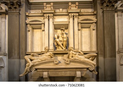 Tomb of Lorenzo II de Medici and below lying on the sarcophagus two sculptures 'Dawn and Dusk' in Medici Chapel, Florence, Italy