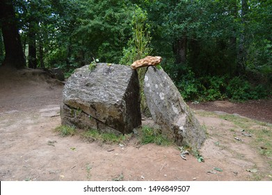 The tomb of the Merlin wizard in the forest of Broceliande / French Brittany
