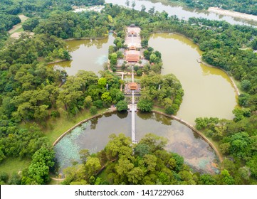 Tomb of Minh Mang emperor from above in Hue, Vietnam