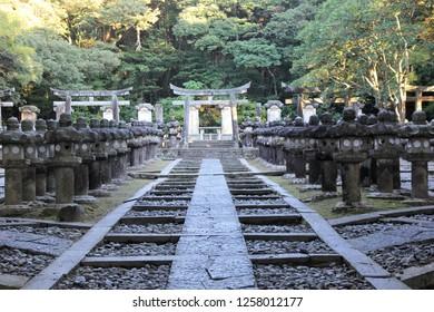 Tomb of the Mori clan, Edo era, the rural landlord Hagi City, Yamaguchi prefecture, Japan.