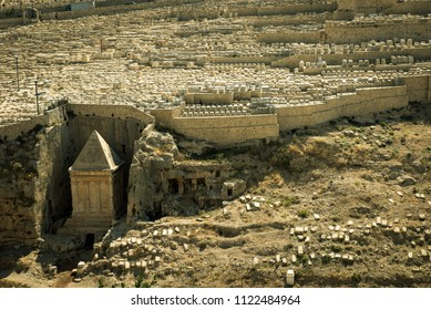 Tomb of Prophet Zechariah in the Kidron Valley,  Jerusalem. Jewish cemetery in the background. Vintage image