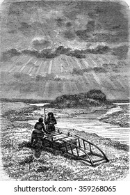 Tomb of a Samoyed, to the island of Vaigach. between Novaya Zemlya and Russia, vintage engraved illustration. Magasin Pittoresque 1880.