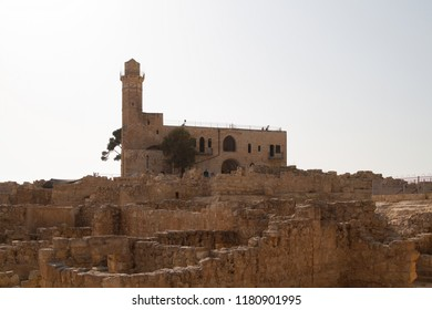 Tomb of Samuel, traditional burial site of the biblical prophet Samuel and Nabi Samwil mosque, excavations at the archaeological site near Jerusalem in Israel