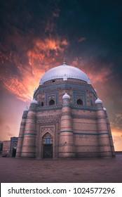 Tomb of Shah Rukn-E-Alam at sunset in Multan