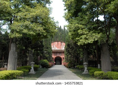 The Tomb of Wang Jian in Chengdu, Sichuan, China. This tomb is also known as the Yongling Mausoleum. The characters above the entrance say 'Yongling'. The Wang Jian tomb is a tourist sight in Chengdu.