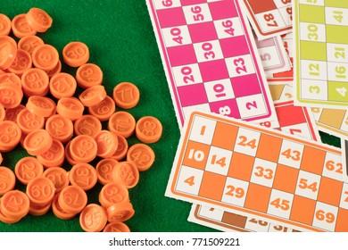 tombala gambling game entertainment on green background
