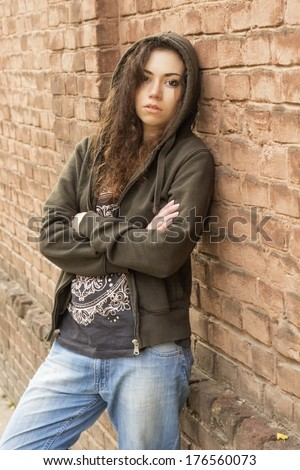 tomboy brown hoody outdoor near red stock photo edit now 176560073