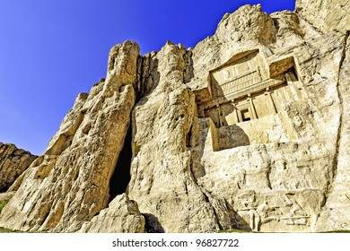Tombs of Achaemenid Kings at Naqsh-e Rustam in Iran. It is located about 12 km northwest of Persepolis.