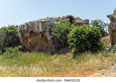Tombs of the Kings ancient necropolis of 4th century BC. Paphos, Cyprus.   - Shutterstock ID 346410125