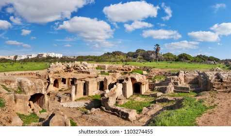 Tombs of the Kings, archaeological museum in Paphos city, Cyprus on a bright day, panoramic image