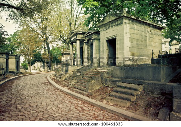 tombs of Pere Lachaise cemetery, Paris, France