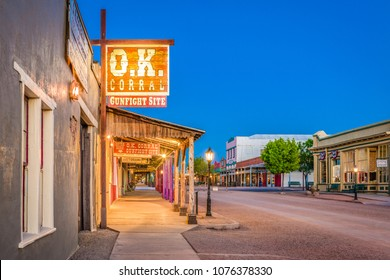 TOMBSTONE, ARIZONA - APRIL 17, 2018: The O.K. Corral Gunfight Site at twilight. The site is known for the most famous shootout in the history of the American Wild West.