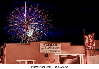 TOMBSTONE, ARIZONA - July 4, 2021: Fireworks from July 4th Celebration over the historic OK Corral located in Tombstone, Arizona.