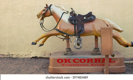 TOMBSTONE, ARIZONA - MARCH 20: A coin-operated pony ride at the OK Corral in Tombstone, Arizona on March 20th, 2016.