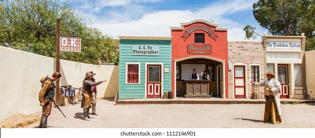 Tombstone, Arizona - May 22 2015: A reenactment of the gunfight at the OK Corral in Tombstone, Arizona between Wyatt Earp and his brothers along with Doc Holiday against the so called Cowboys in 1861