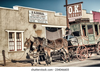 TOMBSTONE, ARIZONA - NOV 15, 2014: The historic OK Corral with a stagecoach in front, located in Tombstone, Arizona.