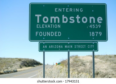 Tombstone, Arizona, sign before entering town on State Road 80