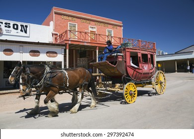 Tombstone, Arizona, USA, April 6, 2015, stage coach in old western town home of Doc Holliday and Wyatt Earp and Gunfight at the O.K. Corral