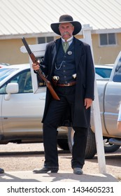 """Tombstone, Arizona / USA - Circa August 2017 This unidentified contestant in the look a like contest did a fine job looking like Virgil Earp played by Sam Elliot in the movie """"Tombstone"""""""