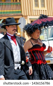 Tombstone, Arizona / USA - Circa August 2017 Couple dressed as Doc Holliday and Big Nose Kate in Tombstone Arizona