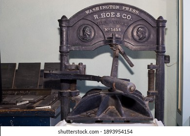 Tombstone, Arizona - USA - December 27, 2014: A close up view of a vintage newspaper press by R. Hoe and Company out of New York. This press was used in the production of the Tombstone Epitaph.