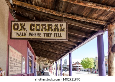 Tombstone, Arizona, USA - May 1, 2019: Entrance to the famous OK Corral in Tombstone. The small town was the site of an infamous gunfight in the 1800's. Today tourists are able to watch a reenactment