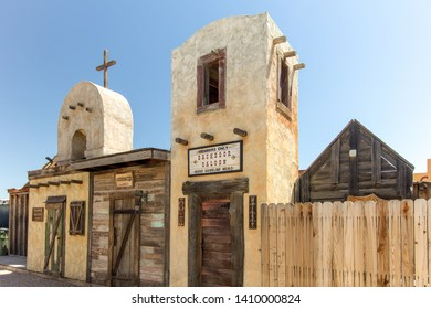 Tombstone, Arizona, USA - May 1, 2019: Wild West frontier style facade of storefronts in the tourist town of Tombstone Arizona. Tombstone became infamous as the site of the shootout at the OK Corral.
