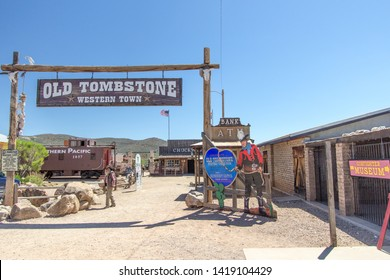 Tombstone, Arizona, USA - May 1, 2019: Wild West frontier style facade of the Old Western Theme Park in Tombstone Arizona. The theme park features gunfights, trolley tours and restaurants.