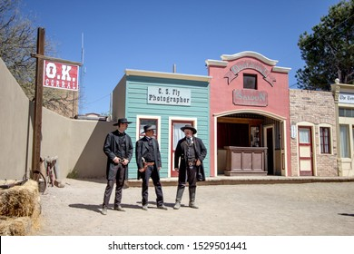 Tombstone, Arizona, USA - May 1, 2019: Gunfight at the famous OK Corral in Tombstone. The small town was the site of an legendary and infamous gunfight in the 1800's