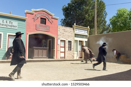 Tombstone, Arizona, USA - May 1, 2019: Gunfight at the famous OK Corral in Tombstone. The small town was the site of an legendary and infamous gunfight in the 1800s