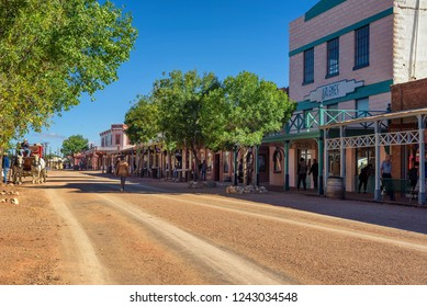 Tombstone, Arizona, USA - October 17, 2018. Historic Allen street in Tombstone. Built on a mesa above the Goodenough Mine Tombstone became a boomtown in the American frontier.