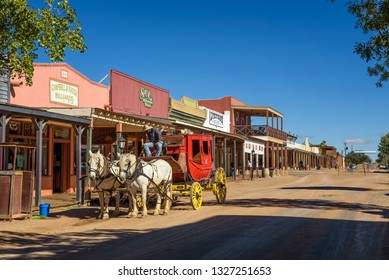 Tombstone, Arizona, USA - October 17, 2018. Historic Allen street with a horse drawn stagecoach in Tombstone. Built near the Goodenough Mine Tombstone became a boomtown in the American frontier.