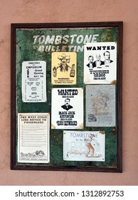 Tombstone, Arizona/USA - February 9, 2019: Bulletin with various historical and current announcements