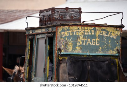 Tombstone, Arizona/USA - February 9, 2019: Partial view of historic Butterfield Overland stage coach