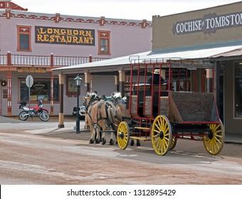 Tombstone, Arizona/USA - February 9, 2019: Historic stage coach on Allen Street
