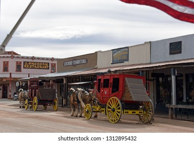Tombstone, Arizona/USA - February 9, 2019: Historic stage coaches on Allen Street