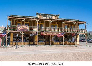 TOMBSTONE, ARIZONA/USA - NOVEMBER 15, 2018: T. Miller's Tombstone Mercantile & Hotel on Allen Street in the Tombstone Historic District