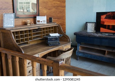 TOMBSTONE, ARIZONA/USA - NOVEMBER 15, 2018: Office and old Continental typewriter at the Tombstone Epitaph Newspaper Museum on Fifth Street in the Tombstone Historic District