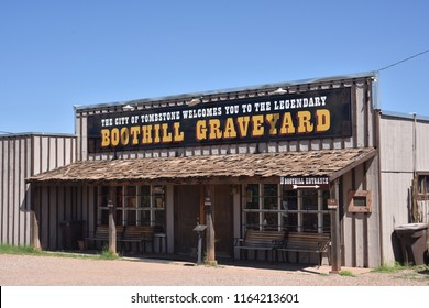 Tombstone, AZ., U.S.A. August 18, 2018.  Boothill speaks of famous people and their resting place in the wild west pages of history.  Tombstone's  'the town too tough to die' flows from a 30-gunfight