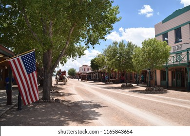 Tombstone, AZ., U.S.A. August 18, 2018.  Founded in 1879 by prospector/Indian scout Ed Schieffelin.  Tombstone's silver mines producing some $85-million.