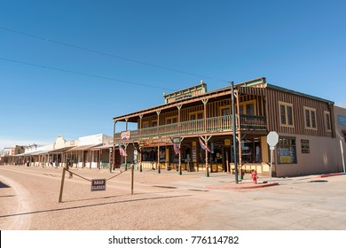 Tombstone, AZ, USA - November 27, 2017: Allen Street in the famous Old West town of Tombstone, Arizona. It became famous for being at the heart of the action during the time of the Old West.