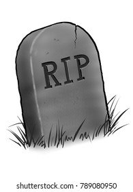 Tombstone illustration with RIP carving