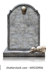 Tombstone with skull isolated on white background, copy space and clipping path.