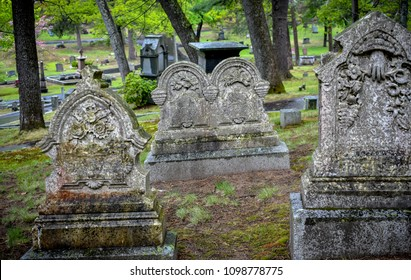Tombstones in Authors Ridge, in Sleepy Hollow Cemetery, located in Concord, Massachussets